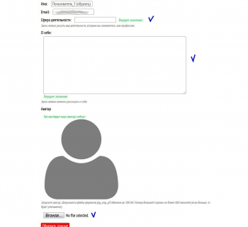 Поля для редактирования в профиле пользователя
